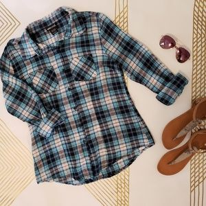 Wet Seal Blue/Navy Plaid Button-up